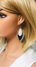 Load image into Gallery viewer, Silver Glitter and Leather Layered Earrings - E19-495