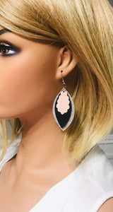 Silver Glitter and Leather Layered Earrings - E19-495