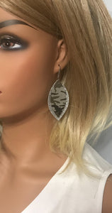Camo Leather and Silver Glitter Layered Earrings - E19-497