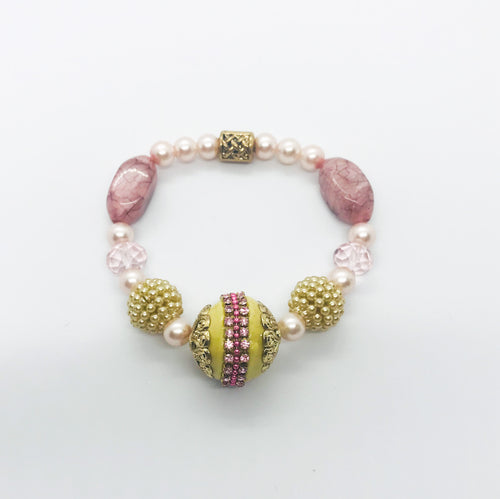 Big & Bold Collection Glass Bead Stretchy Bracelet - B509