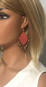 Coral and Baby Cheetah Genuine Leather Earrings - E19-511