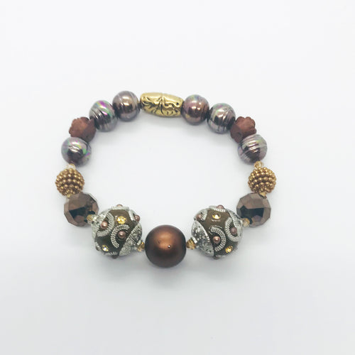 Big & Bold Collection Glass Bead Stretchy Bracelet - B514