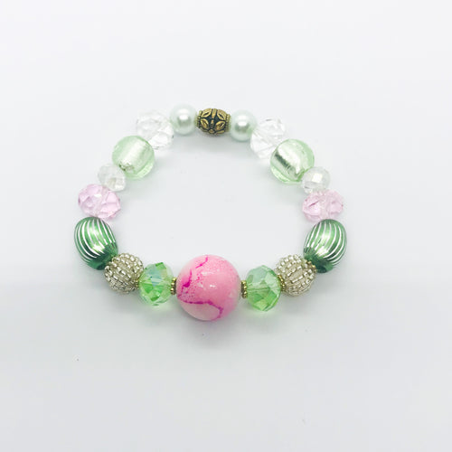 Big & Bold Collection Glass Bead Stretchy Bracelet - B515
