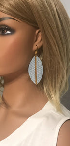 Baby Blue Genuine Leather Painted Earrings - E19-518
