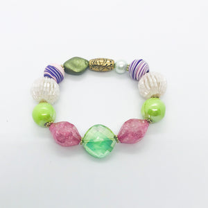 Big & Bold Collection Glass Bead Stretchy Bracelet - B522