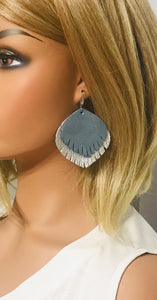 Metallic Silver and Blue Genuine Leather Earrings - E19-527