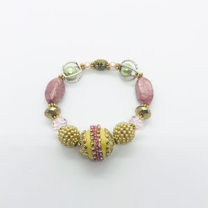 Big & Bold Collection Glass Bead Stretchy Bracelet - B529