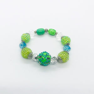 Big & Bold Collection Glass Bead Stretchy Bracelet - B551