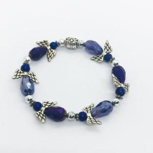 Purple Angel Glass Bead Stretchy Bracelet - B583