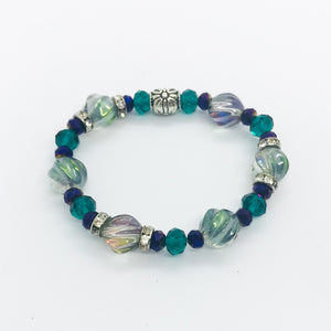 Glass Bead Stretchy Bracelet - B589