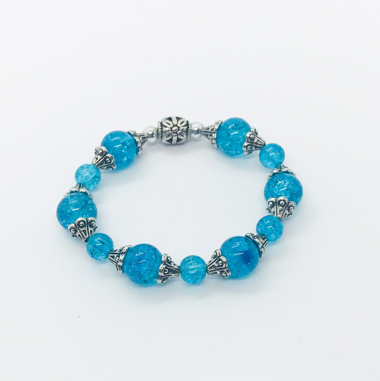 Glass Bead Stretchy Bracelet - B593
