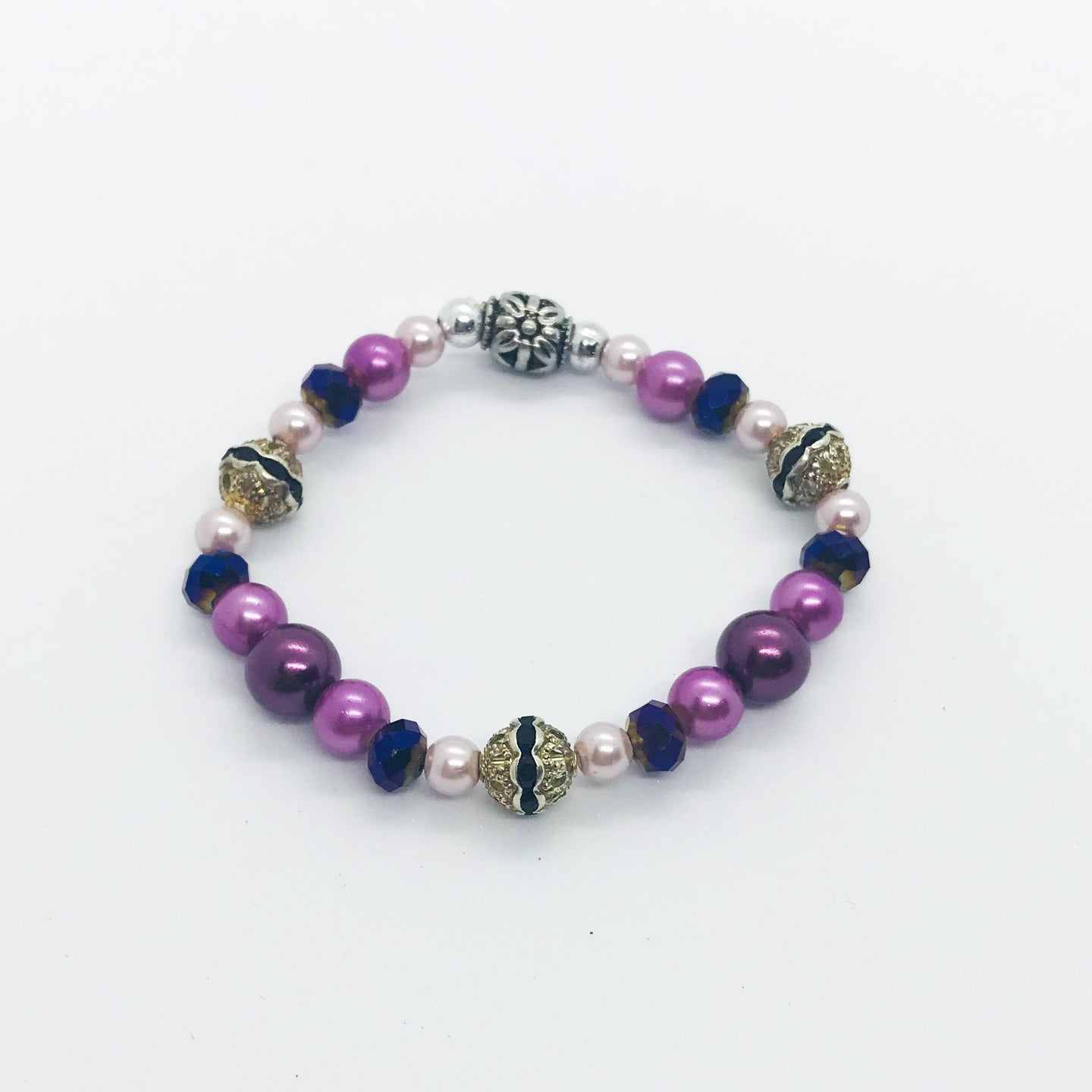 Glass Bead Stretchy Bracelet - B617