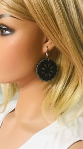Black and Silver Genuine Leather Earrings - E19-630