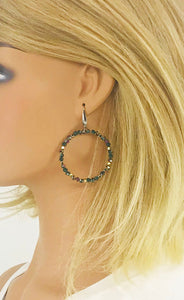 Glass Bead Hoop Earrings - E19-669
