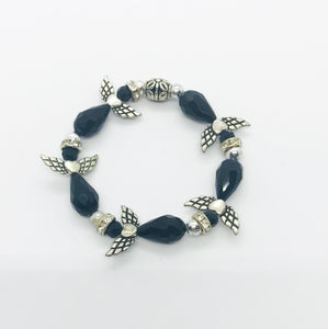 Black Angel Glass Bead Stretchy Bracelet - B674