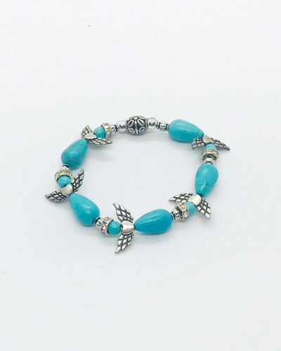 Turquoise Angel Glass Bead Stretchy Bracelet - B677