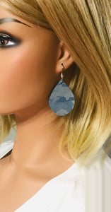 Denim Metallic Camo Leather Earrings - E19-679