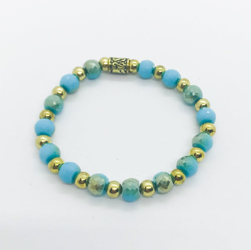 Glass Bead Stretchy Bracelet - B695