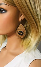 Load image into Gallery viewer, Genuine Leather and Cork Football Earrings - E19-696
