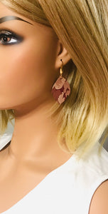 Burgundy Metallic Camo Leather Earrings - E19-702
