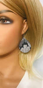 Navy Metallic Camo Leather Earrings - E19-706
