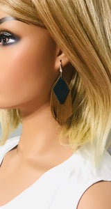 Brown Suede and Teal Snake Leather Earrings - E19-713