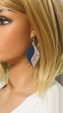 Load image into Gallery viewer, Genuine Blue Leather and Chunky Glitter Earrings - E19-714