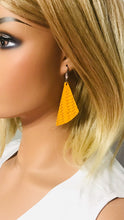 Load image into Gallery viewer, Mustard Braided Fishtail Leather Earrings - E19-716