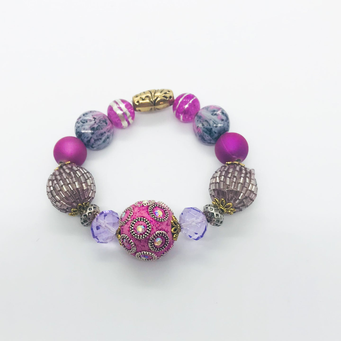 Big & Bold Collection Glass Bead Bracelet - B716