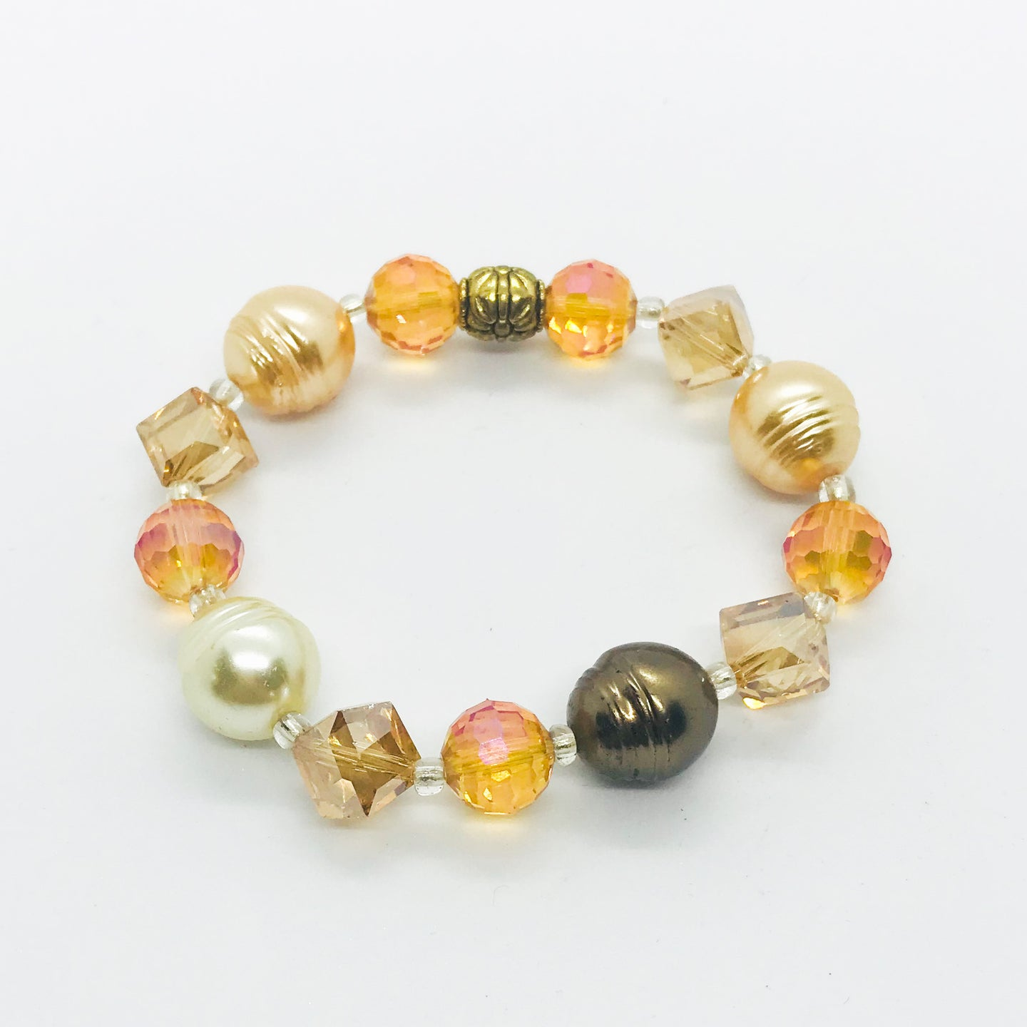 Glass Bead Stretchy Bracelet - B722