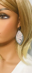 Neutral Gray Genuine Leather and Chunky Glitter Earrings - E19-725