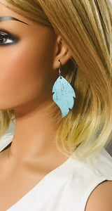 Pearlized Turquoise Cork Leather Earrings - E19-729