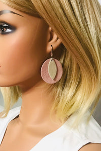 Pink and Metallic Beige Genuine Leather Earrings - E19-732