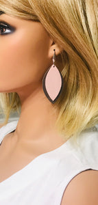Brown and Pink Genuine Leather Earrings - E19-744