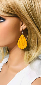 Mustard Braided Fishtail Leather Earrings - E19-745