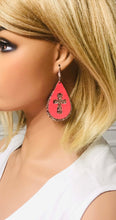 Load image into Gallery viewer, Coral Genuine Leather and Chunky Glitter Cross Earrings - E19-752