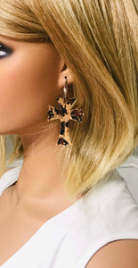 Leopard Cork Cross Earrings - E19-757