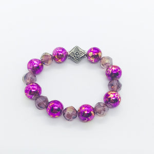 Glass Bead Stretchy Bracelet - B780