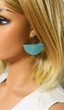 Load image into Gallery viewer, Turquoise Cork Leather Hoop Earrings - E19-780