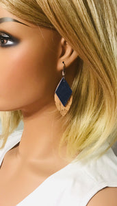 Genuine Leather and Cork Layered Earrings - E19-782