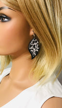 Load image into Gallery viewer, Black and Aqua Genuine Leather Earrings - E19-812