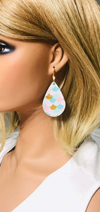 Mermaid Scale Faux Leather and Glitter Earrings - E19-822
