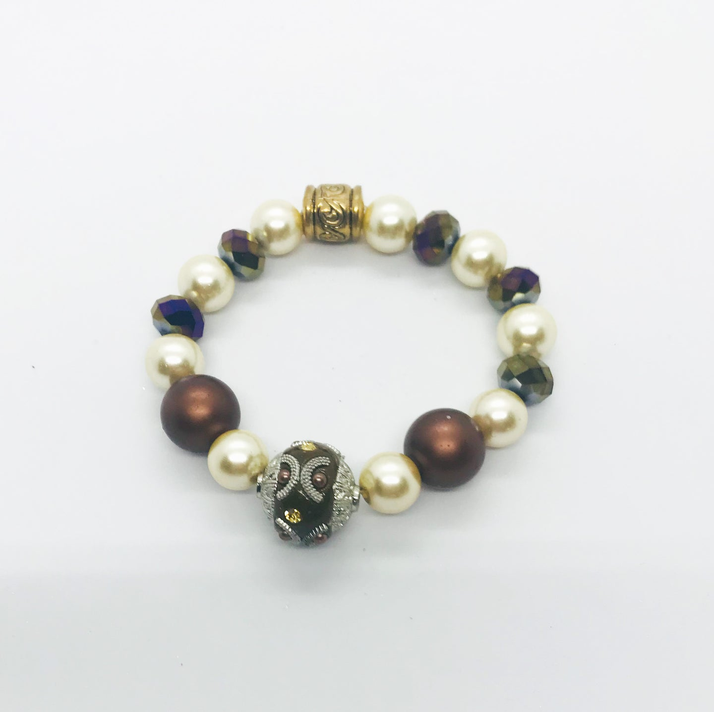 Big & Bold Collection Glass Bead Stretchy Bracelet - B826