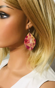 Cranberry Splash Cork Leather Earrings - E19-827