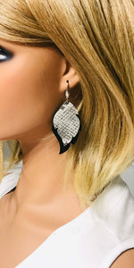 Genuine Black and Snake Leather Earrings - E19-828