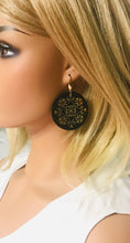 Load image into Gallery viewer, Black Leather and Metallic Gold Earrings - E19-843