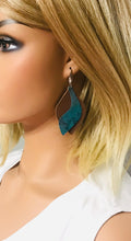 Load image into Gallery viewer, Genuine Brown Leather and Turquoise Snake Leather Earrings - E19-844