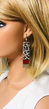 Load image into Gallery viewer, Gold, Red and Cheetah Print Genuine Leather Earrings - E19-845