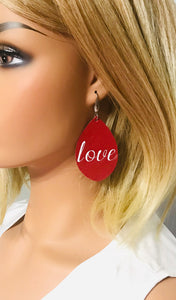 "Genuine Red Leather ""Love"" Earrings - E19-851"