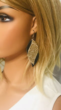 Load image into Gallery viewer, Brown Genuine Leather and Chunky Glitter Earrings - E19-853
